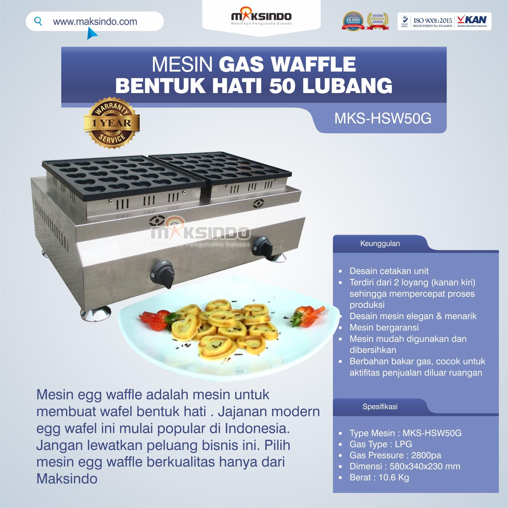 Jual Mesin Waffle Gas Bentuk Hati 50 Lubang MKS-HSW50G Di Makassar