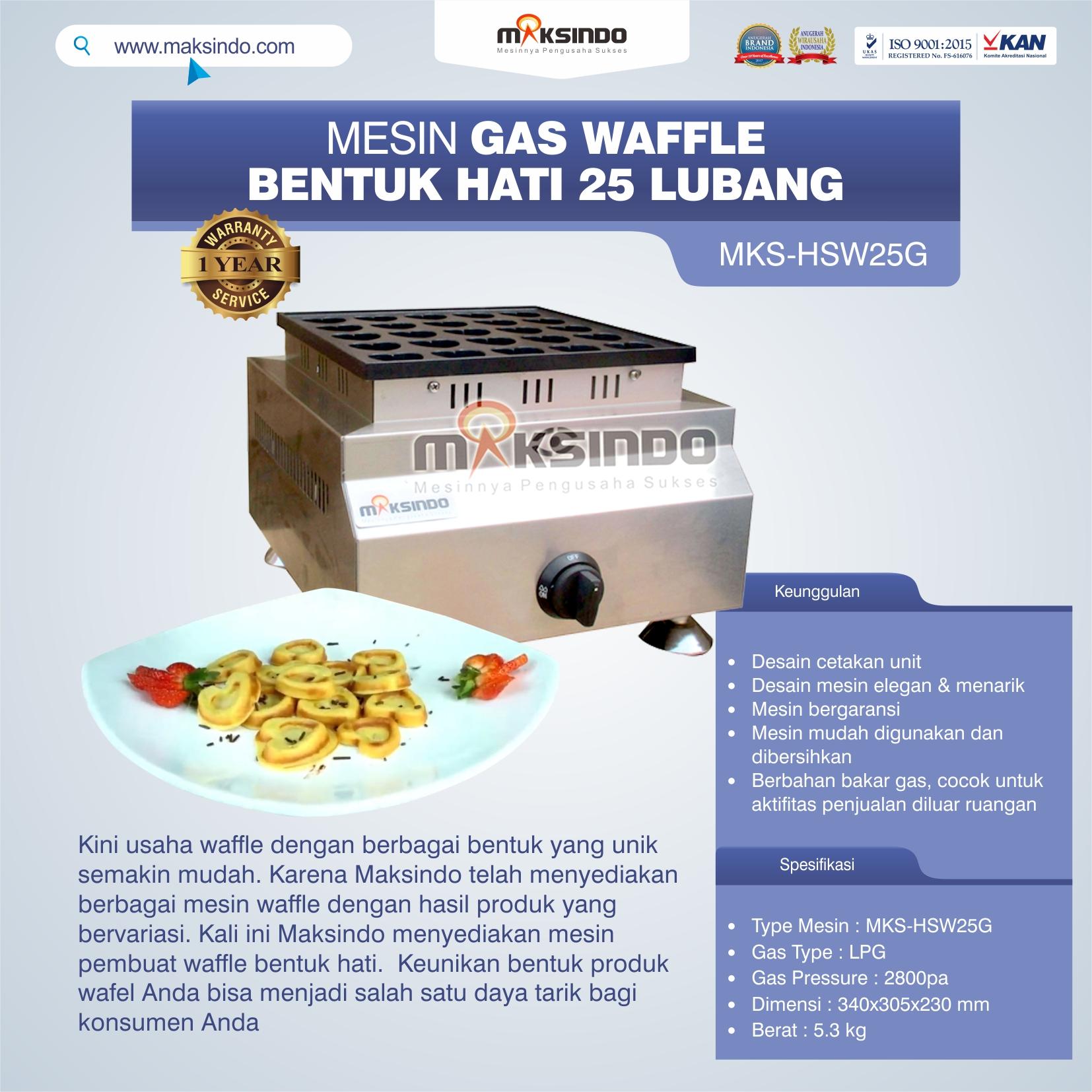 Jual Gas Waffle Bentuk Hati 25 Lubang MKS-HSW25G Di Makassar