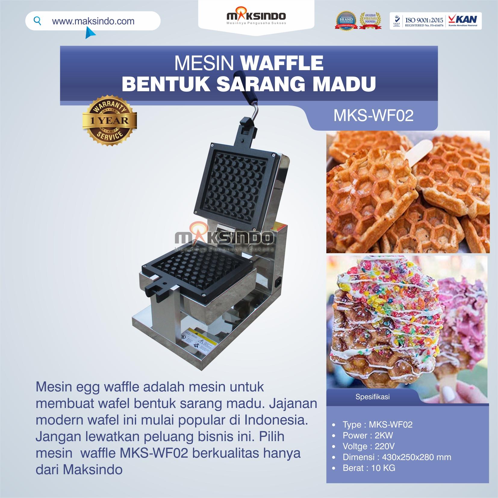 Jual Mesin Waffle Bentuk Sarang Madu MKS-WF02 di Makassar