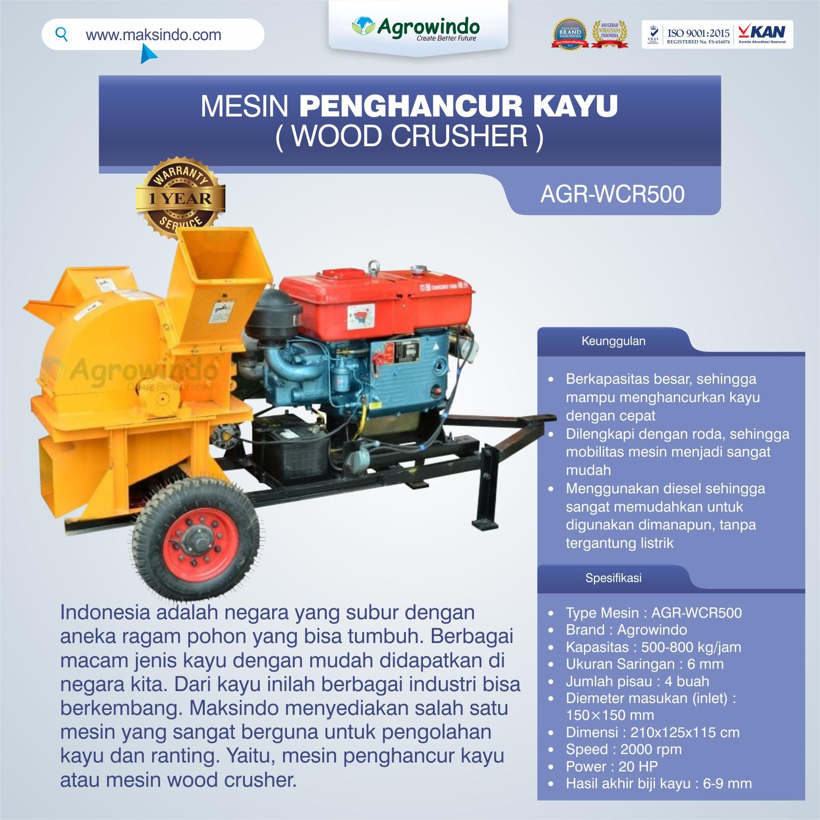 Jual Mesin Penghancur Kayu (wood crusher) AGR-WCR500 di Makassar