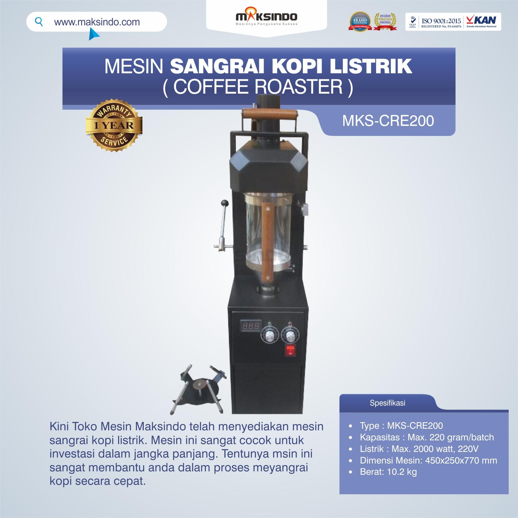 Jual Mesin Sangrai Kopi Listrik (Coffee Roaster) MKS-CRE200 di Makassar