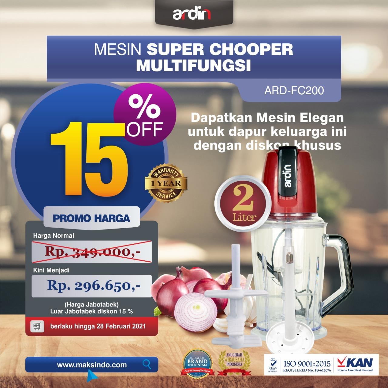 Jual Mesin Food Chopper Ardin Multi Fungsi ARD-FC200 di Makassar
